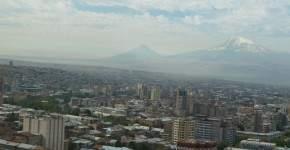 Изглед към свещената планина Арарат от Площада на победата